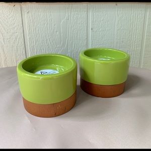 """Two Wood and Ceramic Candle Holders 4""""x3"""""""
